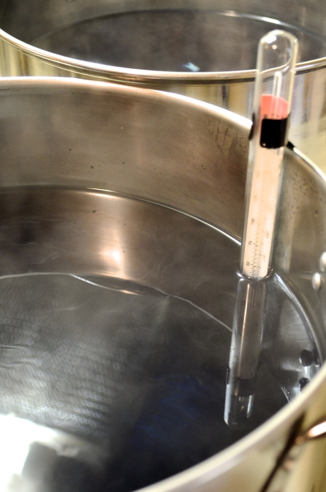 We keep the water at a safe temperature for the fibers we're dyeing